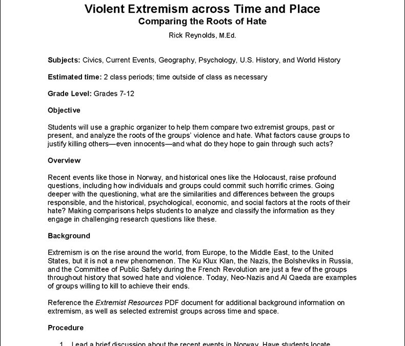 Violent Extremism Across Time and PlaceLesson Plan for PBS