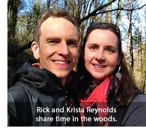 Rick and Krista Reynolds share time in Forest Park in Portland, Oregon