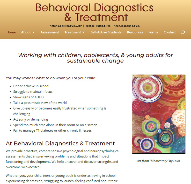 Behavioral Diagnostics & Treatment Website